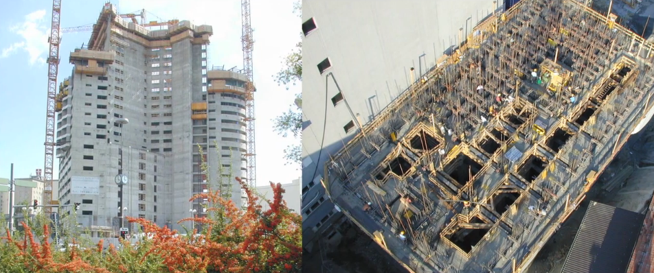 Vertical concrete slipform construction of high rise buildings.