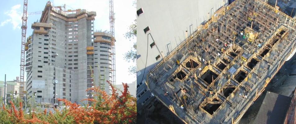 Vertical concrete slipform construction of high rise buildings.
